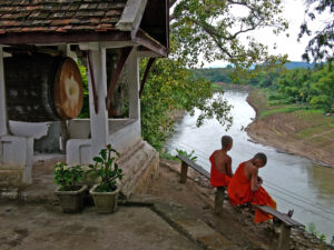 Monks along the Nam Khan